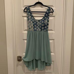 Dresses & Skirts - High low denim chiffon dress